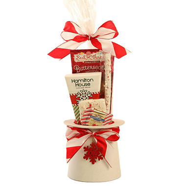 Top Hat Box Holiday Treat Gift Basket - Red & White