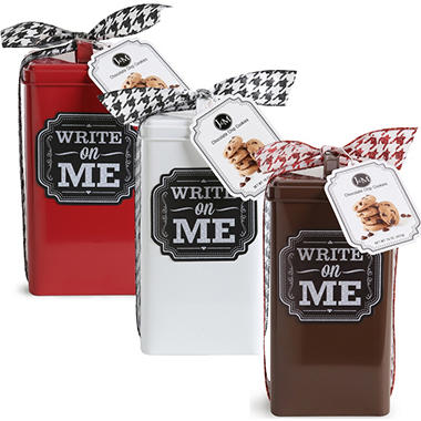 Chalkboard Cookie Tin - White, Red, or Brown Tin Colors