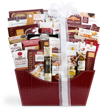 Burgundy Faux Leather Gift Basket