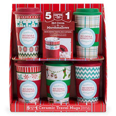 Holiday Travel Mug Set, Black or Red
