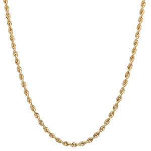 "18"" Hollow Rope Chain in 14K Yellow Gold"