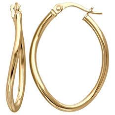 2.5mm Oval Wave Hoop Earring in 14K Yellow Gold