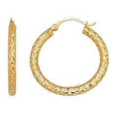 3x28.5mm Diamond Cut Glitter Mesh Hoop Earring in 14K Yellow Gold