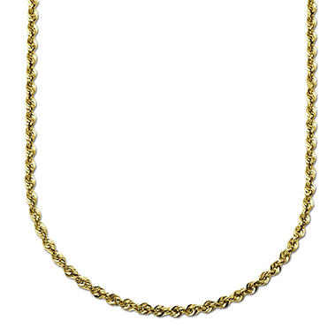 """20"""" Glitter Rope Chain in 14K Yellow Gold"""
