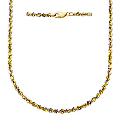 "24"" Glitter Rope Chain in 14K Yellow Gold"