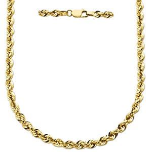 "22"" Glitter Rope Chain in 14K Yellow Gold"