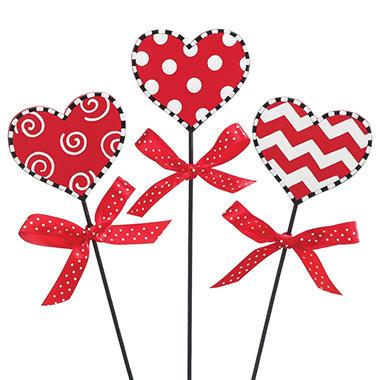 Valentine Heart Picks - Set of 24