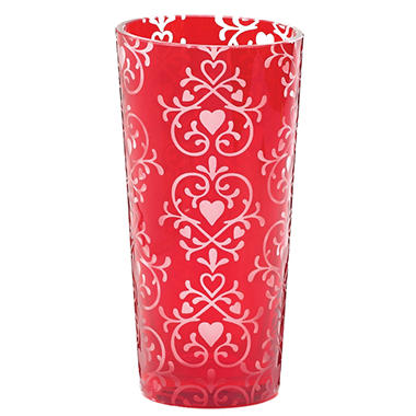 Fleur de lis Vase Red Glass - Set of 3