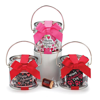 Valentine's Mini Paint Cans Filled with Candy (set of 12)