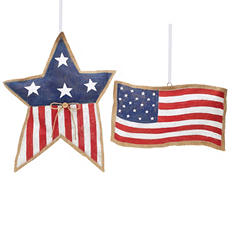 USA Flag and Star Wall Hanging (Set of 2)