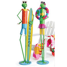 Tin Beach Frog Décor (Set of 2)