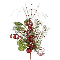 Holiday Floral Spray - Red/Green