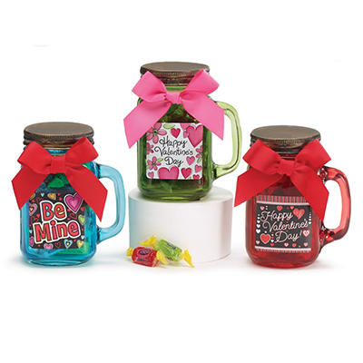 Valentine's Mason Jars Filled with Candy (set of 9)