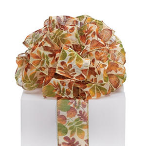 2.5? Sheer Wired Ribbon (Autumn Leaves) ? 2 Rolls (10 yrds ea.)