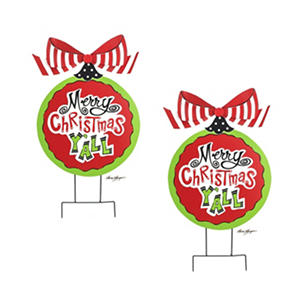 """Merry Christmas Y'all"" Ornament Yard Stake (2 pk.)"