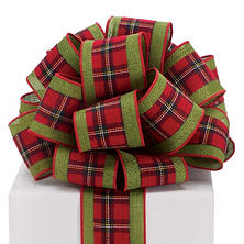 Red Plaid/Olive Green Wired Ribbon - 20 yds. (2 ct.)