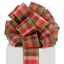 Red/Green Checkered Wired Ribbon - 20 yds. (2 ct.)