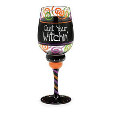 """Quit your Witchin"" Wine Glass Set of 4"