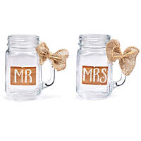 Mr. and Mrs. Wedding Mason Jar Mugs, 16 oz. ea. (12 ct.)