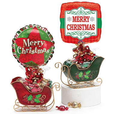 Christmas Sleigh with Candy and Balloon - Set of 6