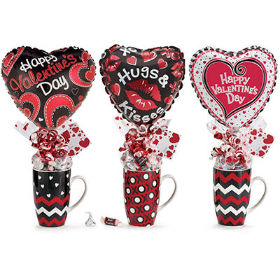Valentine's Gift Mug Assortment Filled with Candy (set of 6)