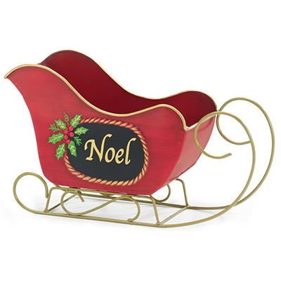 Planter tin Sleigh with Noel and Holly - Set of 2