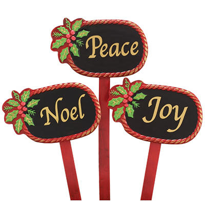 Floral Picks with Holiday Message - Set of 12