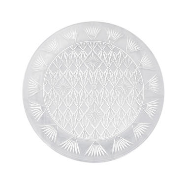 Clear Diamond Cut Round Food Trays - 13