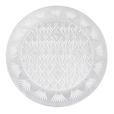 "Clear Diamond Cut Round Food Trays - 13"" or 16"" - 12 pk."