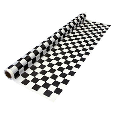 "Black and White Checker Banquet Rolls - 40"" x 100' - 4 pk."