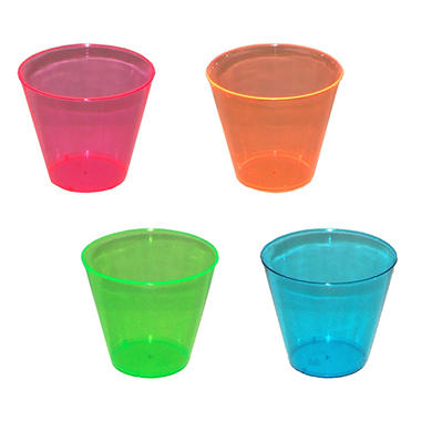 Assorted Neon Plastic Cups - 600 ct.