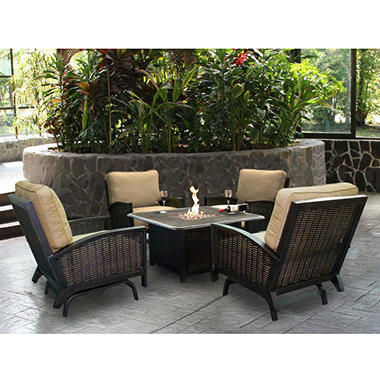 Heritage Deep Seating Chat Group with Firepit 5 pc.