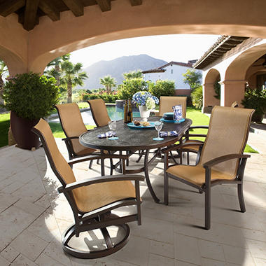 Neopolitan Sling Dining with Premium Sunbrella® Fabric - 7 pc, Original Price $2249.00