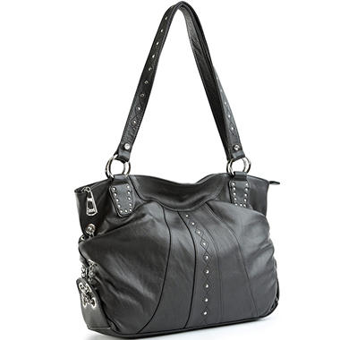Allison Scott Leather Stephanie Studded Tote - Black