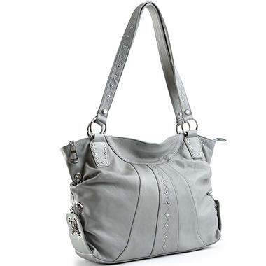 Allison Scott Leather Stephanie Studded Tote - Shadow