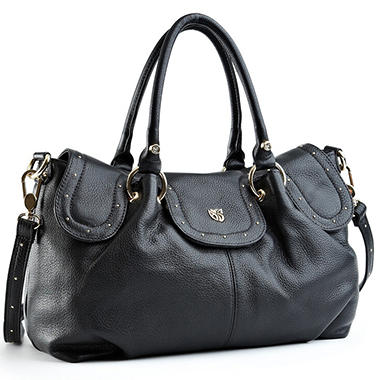 Allison Scott Leather Stella Double Handle Satchel - Black