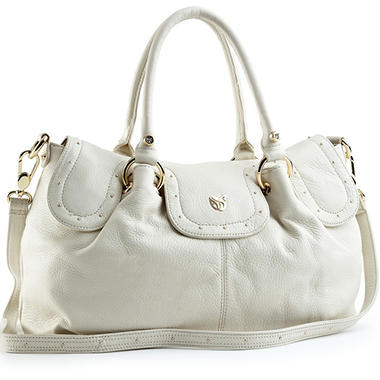 Allison Scott Leather Stella Double Handle Satchel - Bone