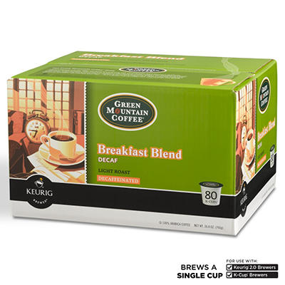 Green Mountain Decaffeinated Coffee, Breakfast Blend  (80 K-Cups)