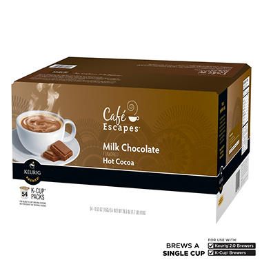 Café Escapes Milk Chocolate Hot Cocoa K-Cup Packs - 54 ct.