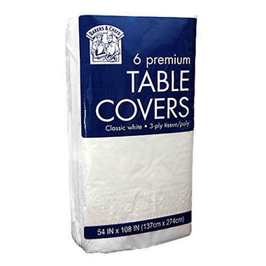Tablecovers -  6 pk. - 54 x 108