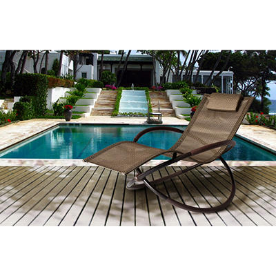 Bloomington Wave Rocking Chaise Lounge Set with Premium Sunbrella® Fabric