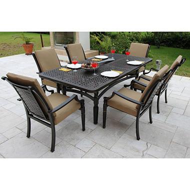 Oraville Woven Cast Patio Dining Set with Premium Sunbrella® Fabric - 7 pcs.
