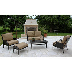 Oraville Woven Cast Patio Deep Seating Set with Premium Sunbrella® Fabric - 5 pcs.
