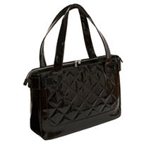 WIB - Women In Business Vanity Quilted Patent Tote - Black