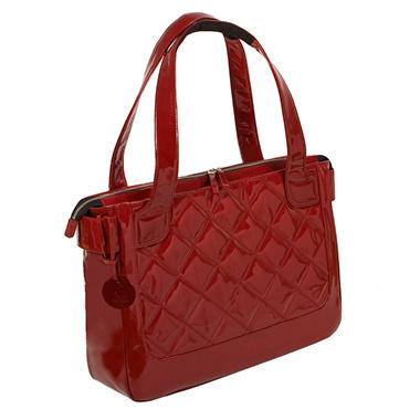 WIB - Women In Business Vanity Quilted Patent Tote - Scarlet