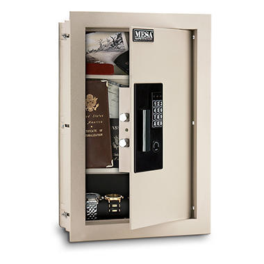 Mesa - Safe All Steel Adjustable Wall Safe - 0.3-0.7 Cubic Feet