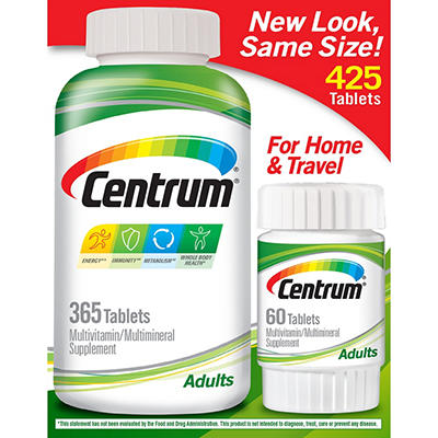 Centrum Adult Multivitamin Tablets (365 ct. + Bonus 60 ct.)