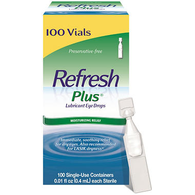 Refresh Plus� Eye Drops Single-Use Vials - 100 ct.
