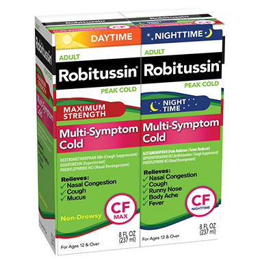Robitussin Peak Cold Daytime + Nighttime Multi-Symptom Cold CF - 8 oz. - 2 pk.