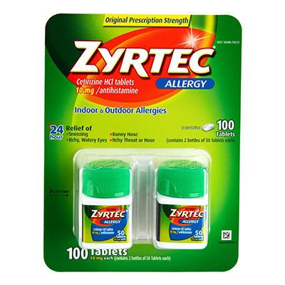 Zyrtec Cetirizine HCl/Antihistamine - 10mg/100 ct.